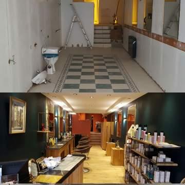 Décoration et aménagement d'un salon de coiffure.